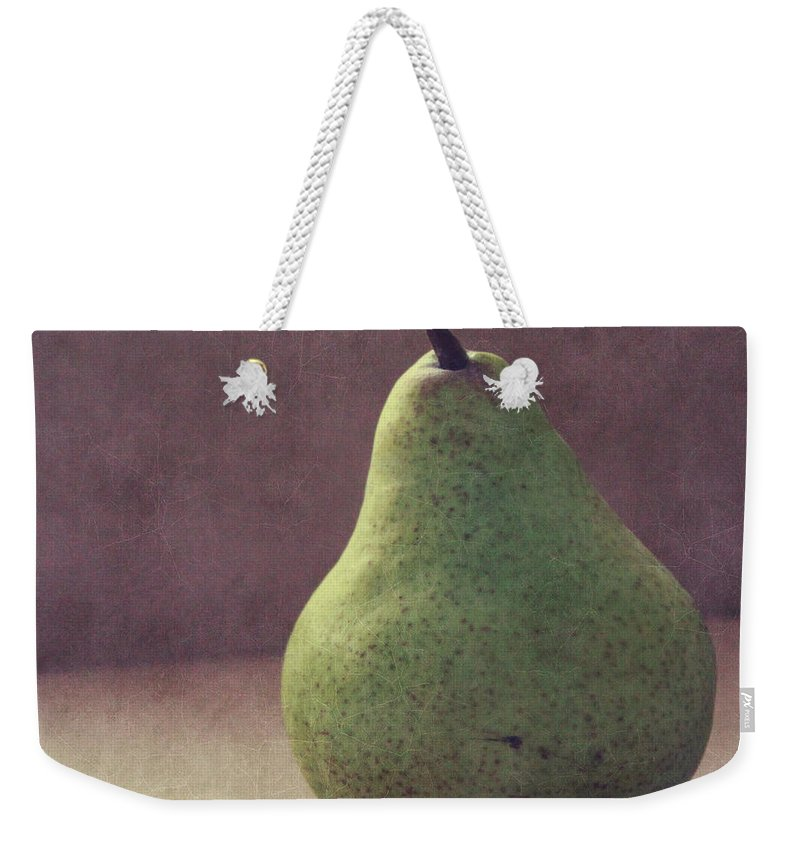 Pear Weekender Tote Bag featuring the photograph A Green Pear- Art By Linda Woods by Linda Woods