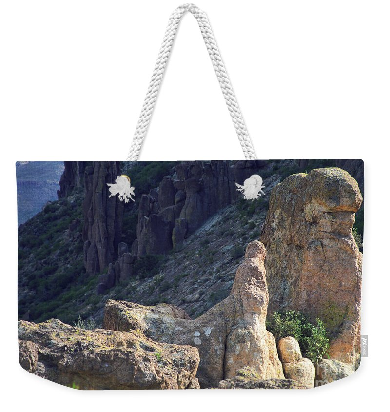 Rock Formations Weekender Tote Bag featuring the photograph A Hard Ride by Kathy McClure
