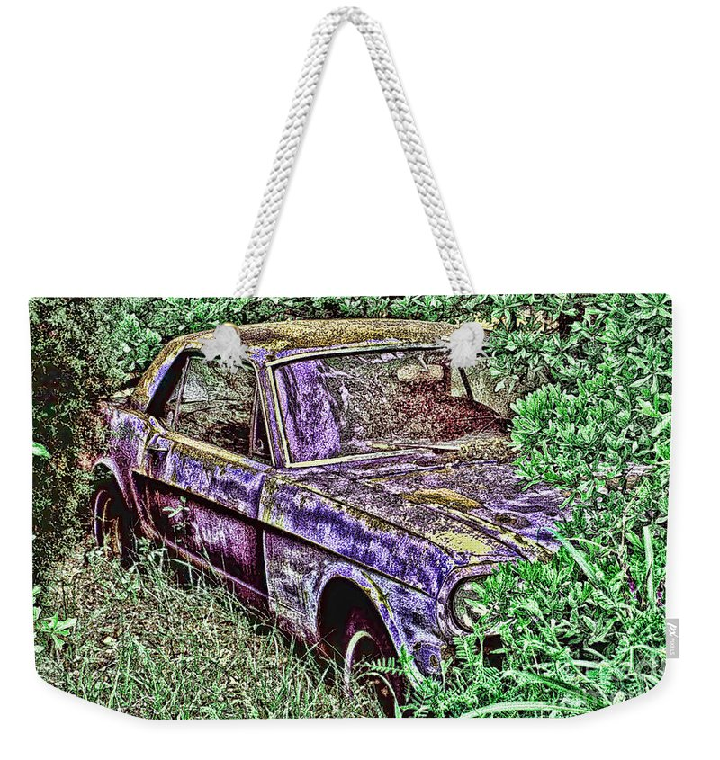Mustang Weekender Tote Bag featuring the digital art A Hidden Pony by Tommy Anderson