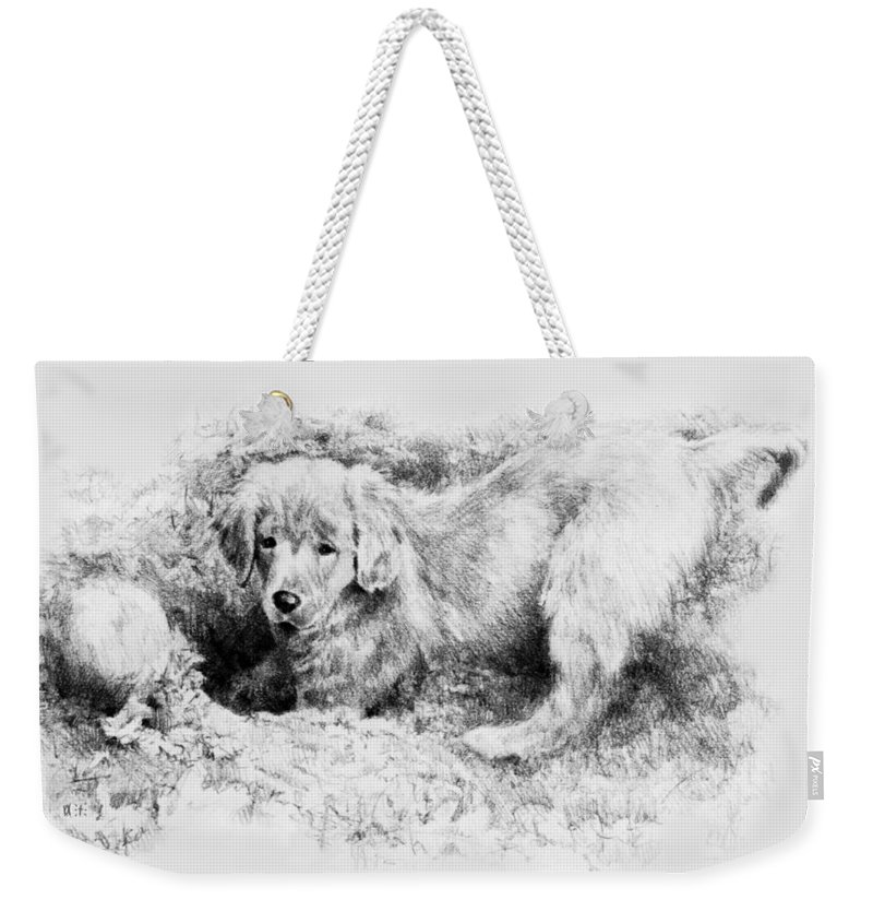 Portrait Weekender Tote Bag featuring the drawing A Hiding Place by Rachel Christine Nowicki