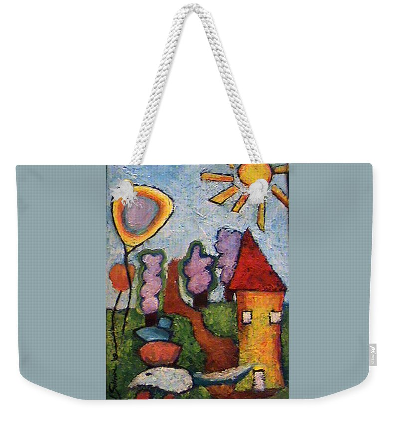 Landscape Weekender Tote Bag featuring the painting A House And A Mouse by Ioulia Sotiriou