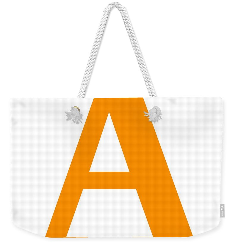 A Weekender Tote Bag featuring the digital art A In Tangerine Typewriter Style by Custom Home Fashions