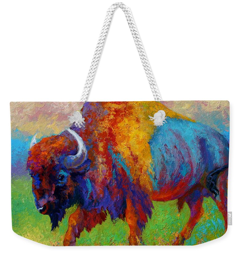 Wildlife Weekender Tote Bag featuring the painting A Journey Still Unknown - Bison by Marion Rose