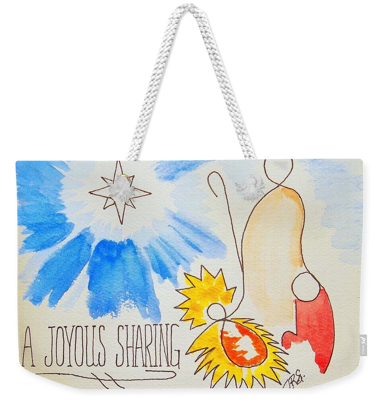Impressionist Christmas Card Weekender Tote Bag featuring the drawing A Joyous Sharing by J R Seymour