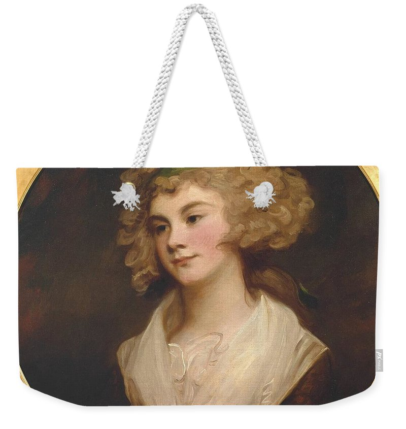 George Romney 1734�1802  A Lady In A Brown Dress Weekender Tote Bag featuring the painting A Lady In A Brown Dress by George Romney
