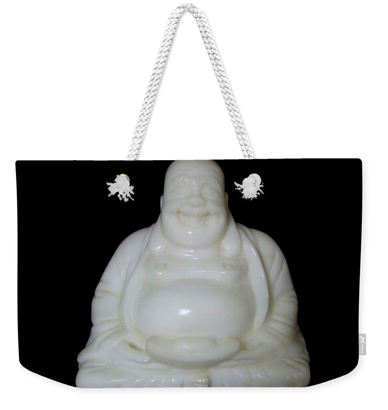 Mary Deal Weekender Tote Bag featuring the photograph A Laughing Buddha Brings Good Luck by Mary Deal