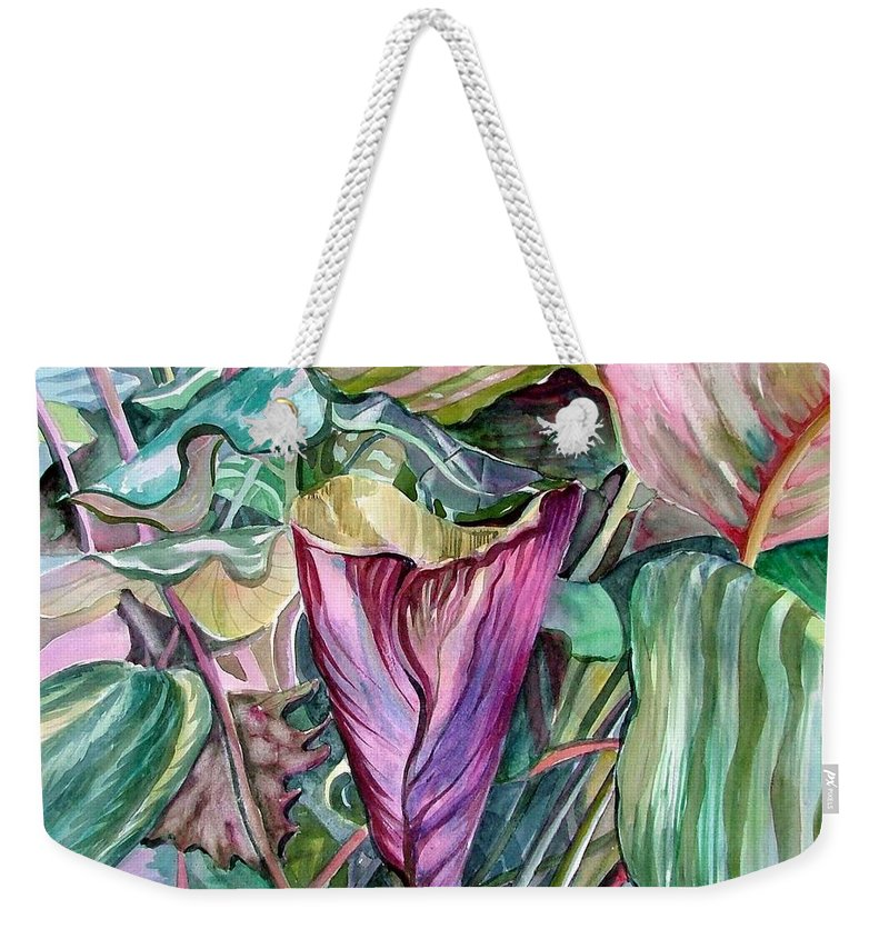 Garden Weekender Tote Bag featuring the painting A Light In The Garden by Mindy Newman