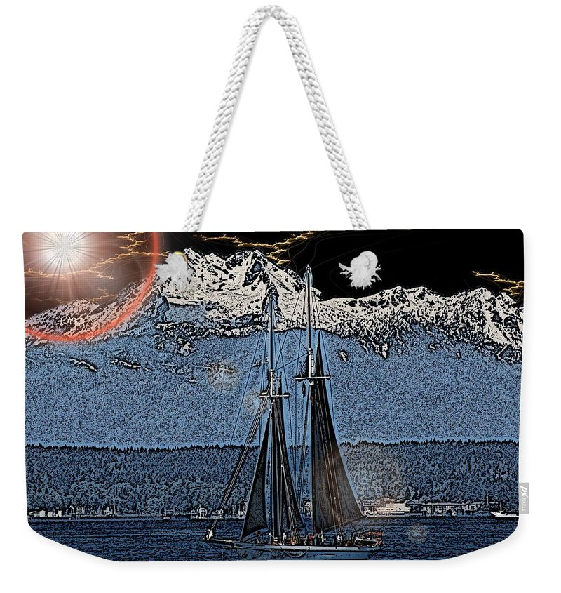 Sail Weekender Tote Bag featuring the digital art A Lightshow To Remember by Tim Allen