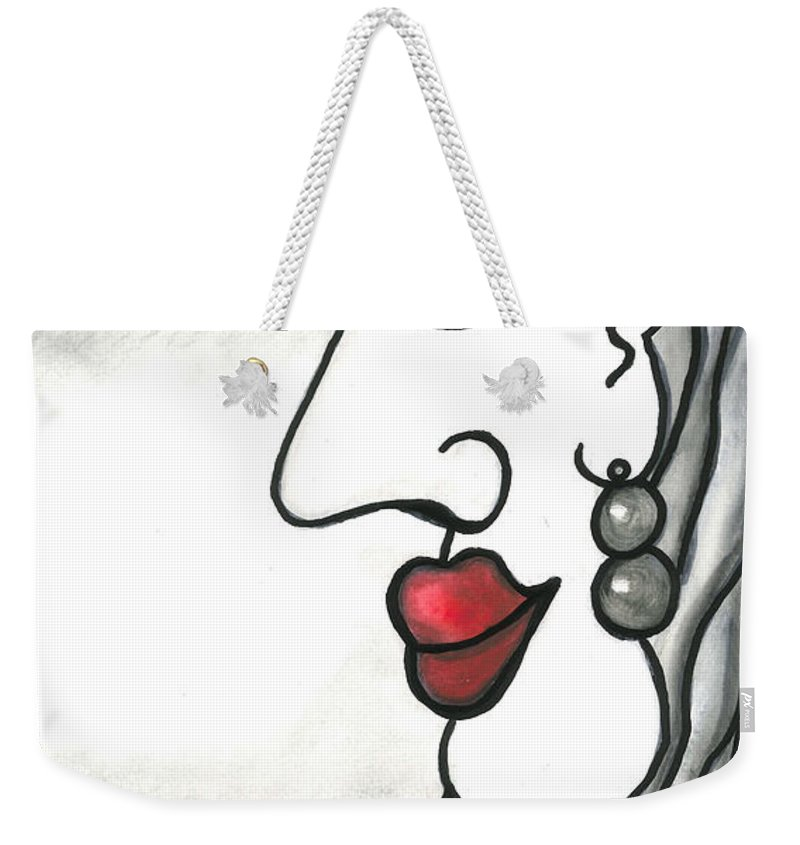 Sun Weekender Tote Bag featuring the painting A Little Bit Of Red - Un Peu De Rouge by Fafard