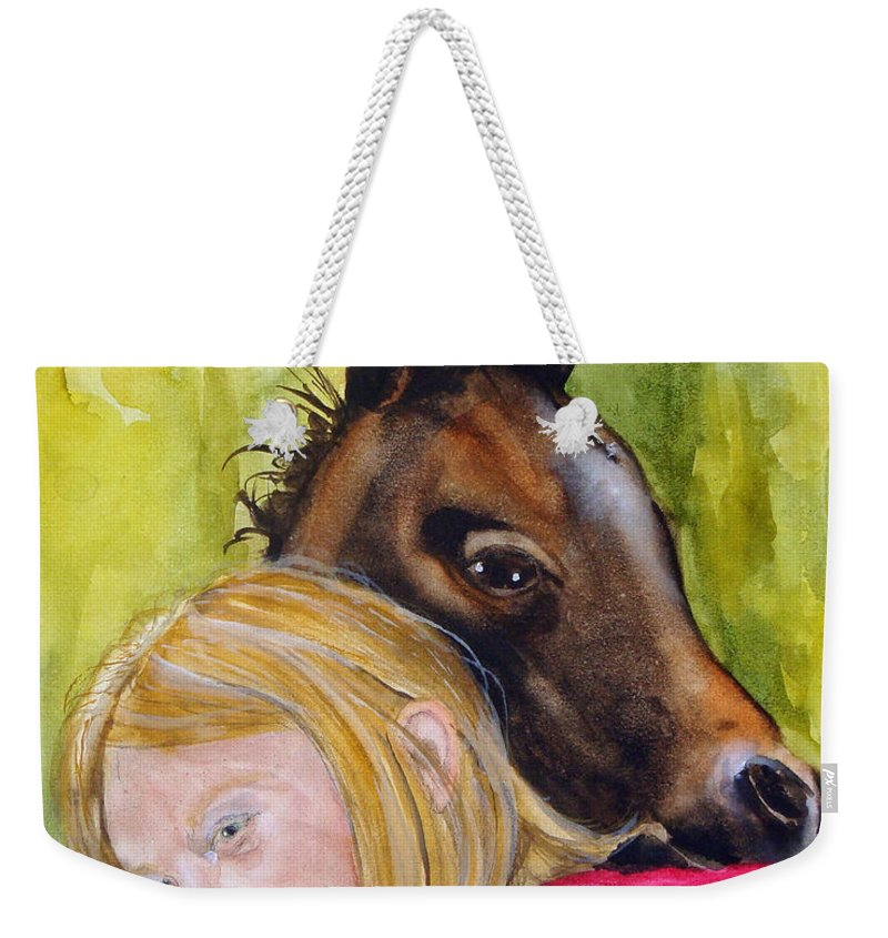 Equine Weekender Tote Bag featuring the painting A Little Girl's Fancy by Jean Blackmer