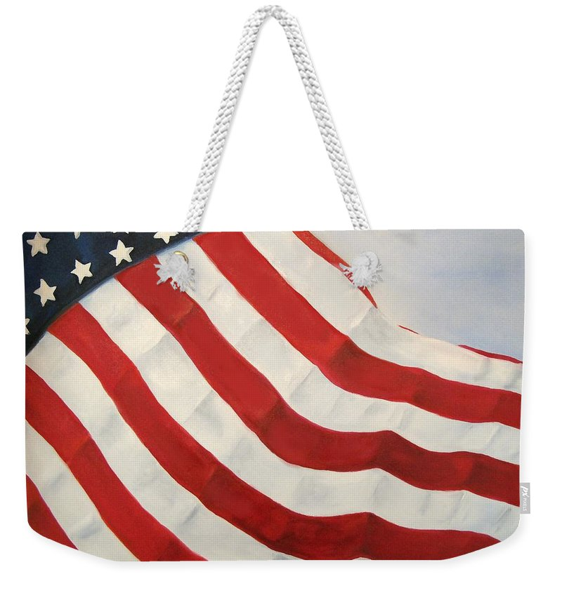 Flag Weekender Tote Bag featuring the painting A Little Glory by Carol Sweetwood
