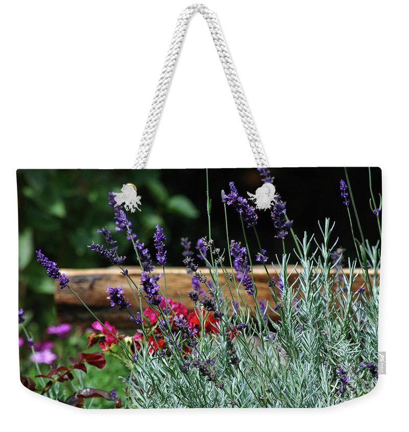 Lavender Weekender Tote Bag featuring the photograph A Little Lavender by Lori Tambakis