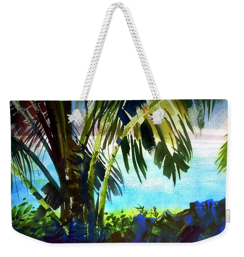 Hawaii Weekender Tote Bag featuring the painting A Little Maui Wowee by Lee Klingenberg