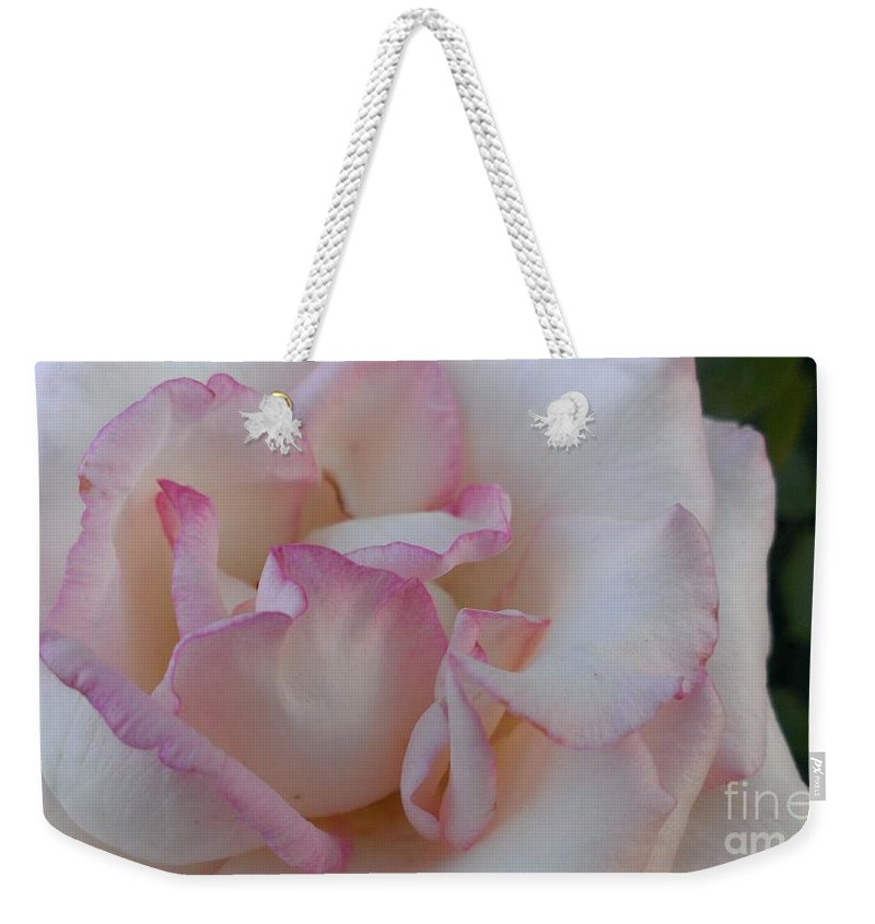 Rose Weekender Tote Bag featuring the photograph A Little Pink Around The Edges by LKB Art and Photography