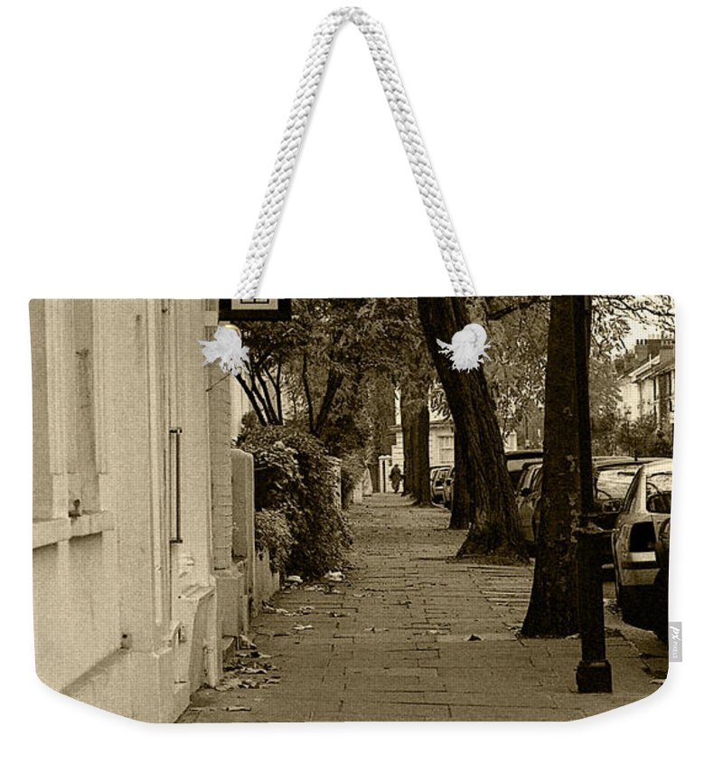 London Weekender Tote Bag featuring the photograph A London Street I by Ayesha Lakes