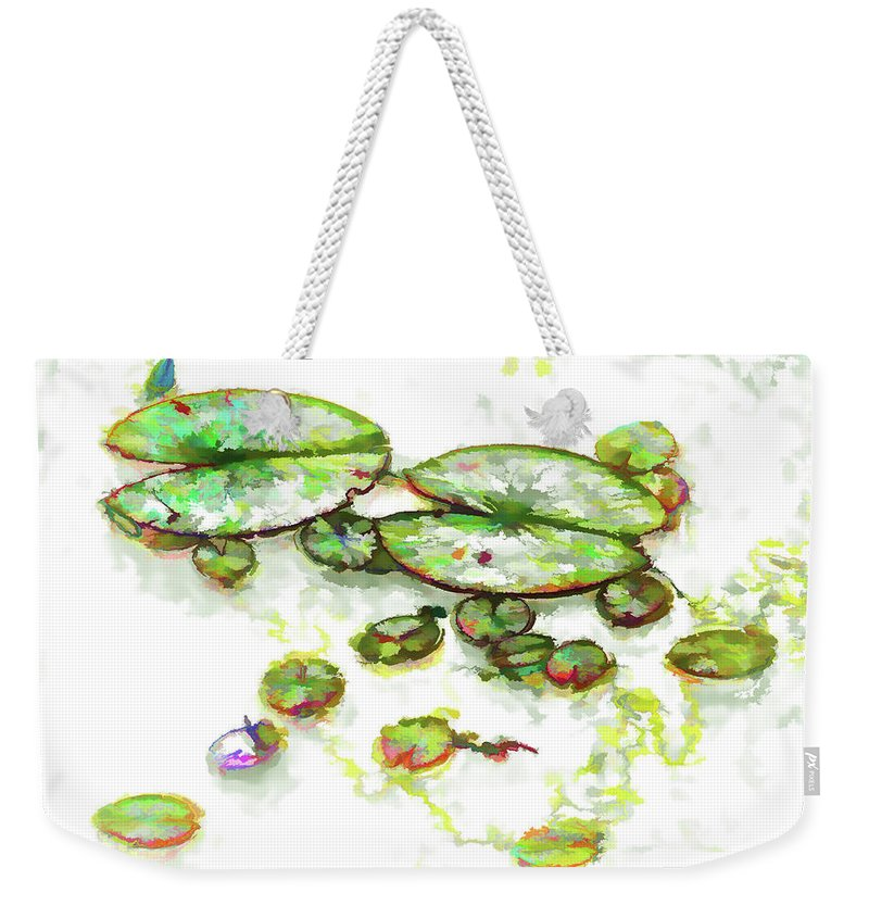A Lotus Leaf Weekender Tote Bag featuring the painting A Lotus Leaf by Jeelan Clark