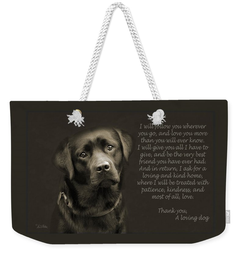 Dog Weekender Tote Bag featuring the photograph A Loving Dog by Kim Mobley