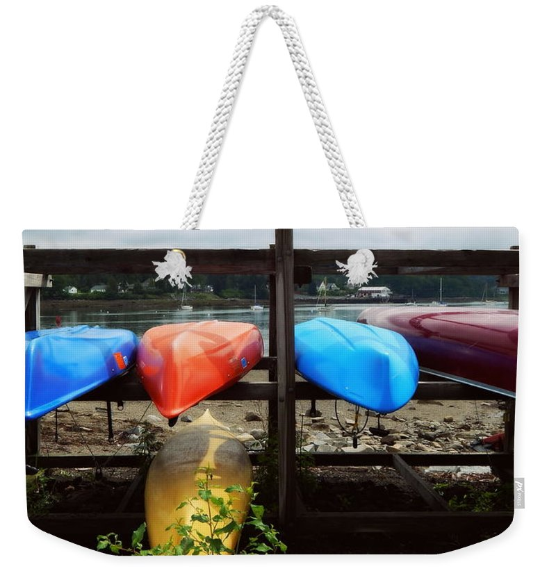A Maine Parking Lot Weekender Tote Bag featuring the photograph A Maine Parking Lot by Karen Cook