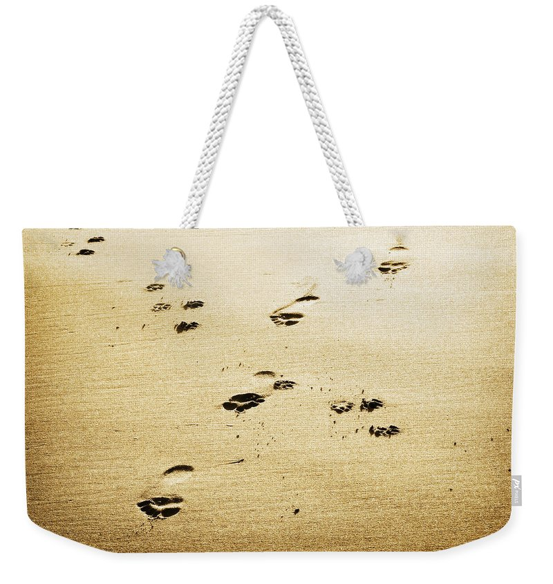 Footprint Weekender Tote Bag featuring the photograph A Man And His Dog by Marilyn Hunt