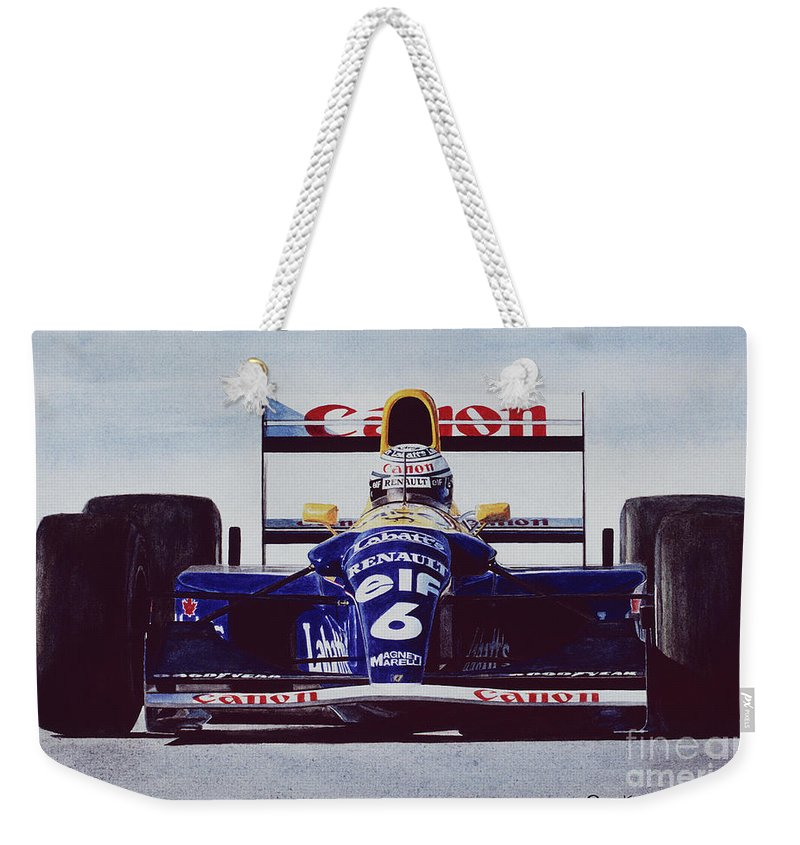 Riccardo Patrese Weekender Tote Bag featuring the painting 6 by Oleg Konin