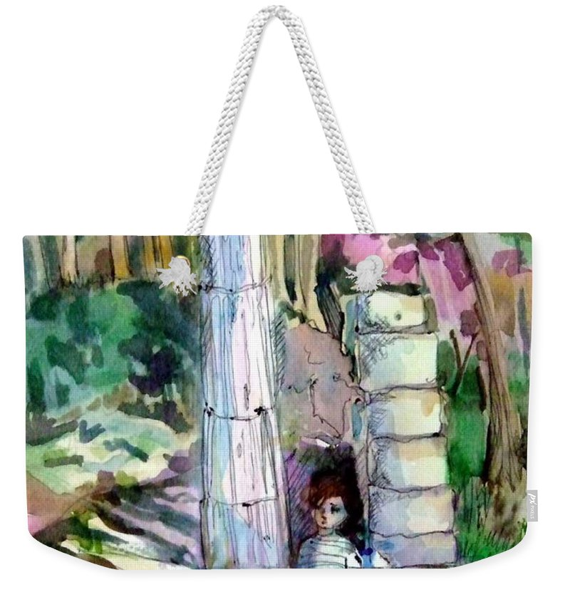 Watercolor Weekender Tote Bag featuring the painting A Man In Ruins by Mindy Newman