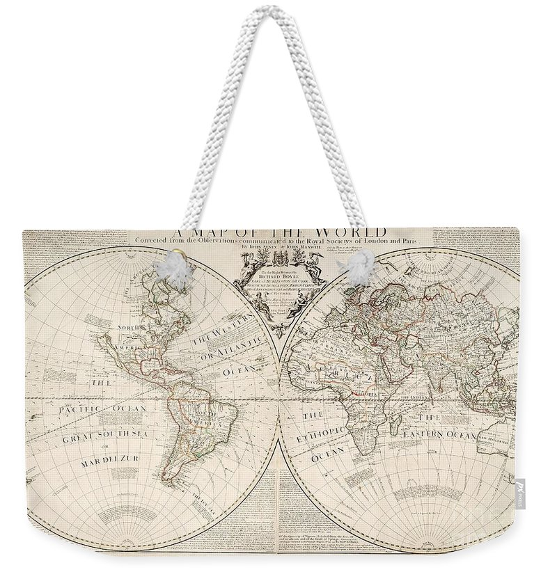 Map Weekender Tote Bag featuring the painting A Map of the World by John Senex
