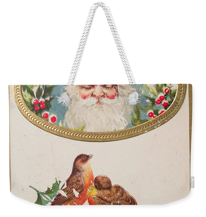 A Merry Christmas From Santa Claus Vintage Greeting Card With Robins Weekender Tote Bag featuring the painting A Merry Christmas From Santa Claus Vintage Greeting Card With Robins by R Muirhead Art