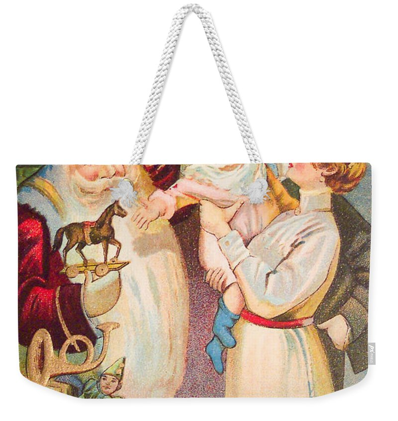 A Merry Christmas Weekender Tote Bag featuring the painting A Merry Christmas Vintage Card Santa And A Family by R Muirhead Art