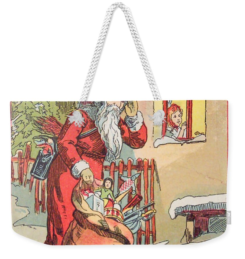 A Merry Christmas Vintage Greetings From Santa Claus And His Gifts Weekender Tote Bag featuring the painting A Merry Christmas Vintage Greetings From Santa Claus And His Gifts by R Muirhead Art