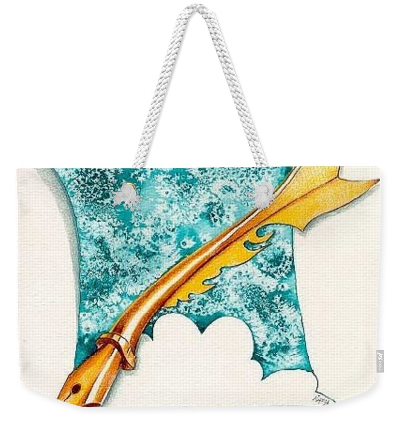 Message Weekender Tote Bag featuring the drawing A Message For You by Ilaria Andreucci