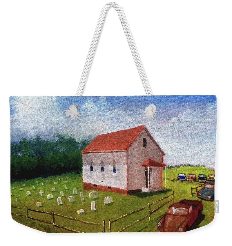 Church Weekender Tote Bag featuring the painting A Mighty Fortress by John Crowther