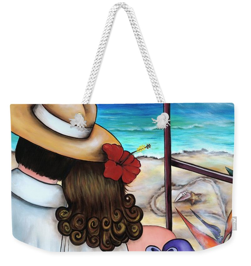 Beach Weekender Tote Bag featuring the painting A Moment Like This by Annie Maxwell