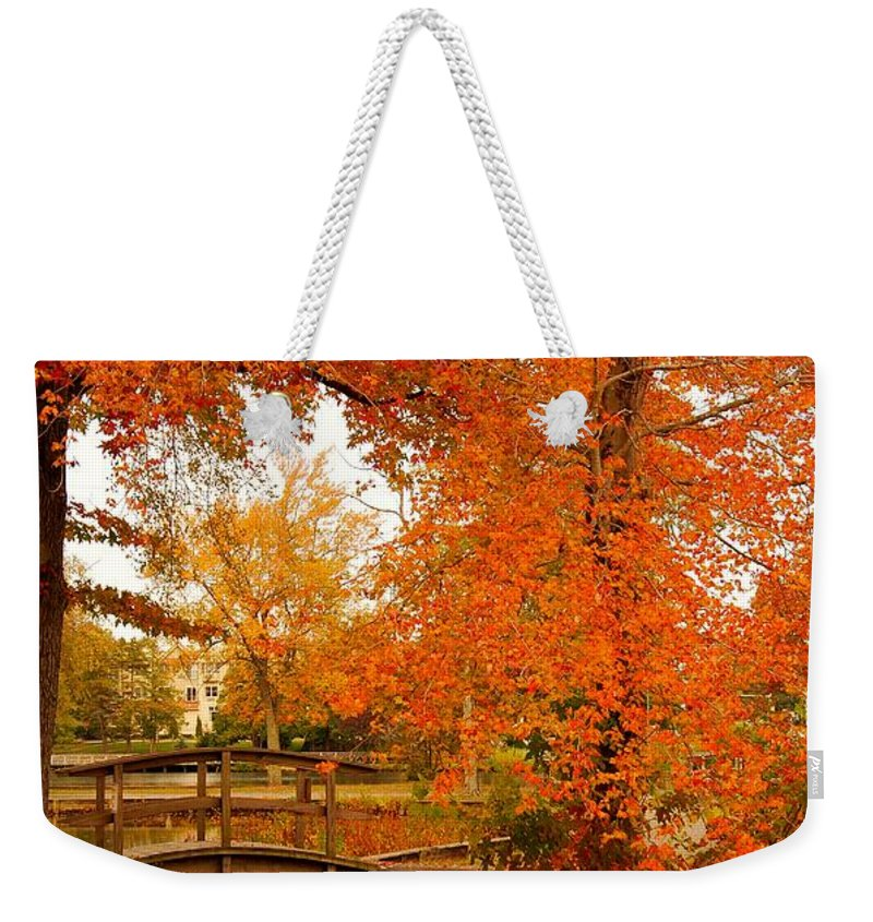 New Jersey Weekender Tote Bag featuring the photograph A Morning In Autumn - Lake Carasaljo by Angie Tirado