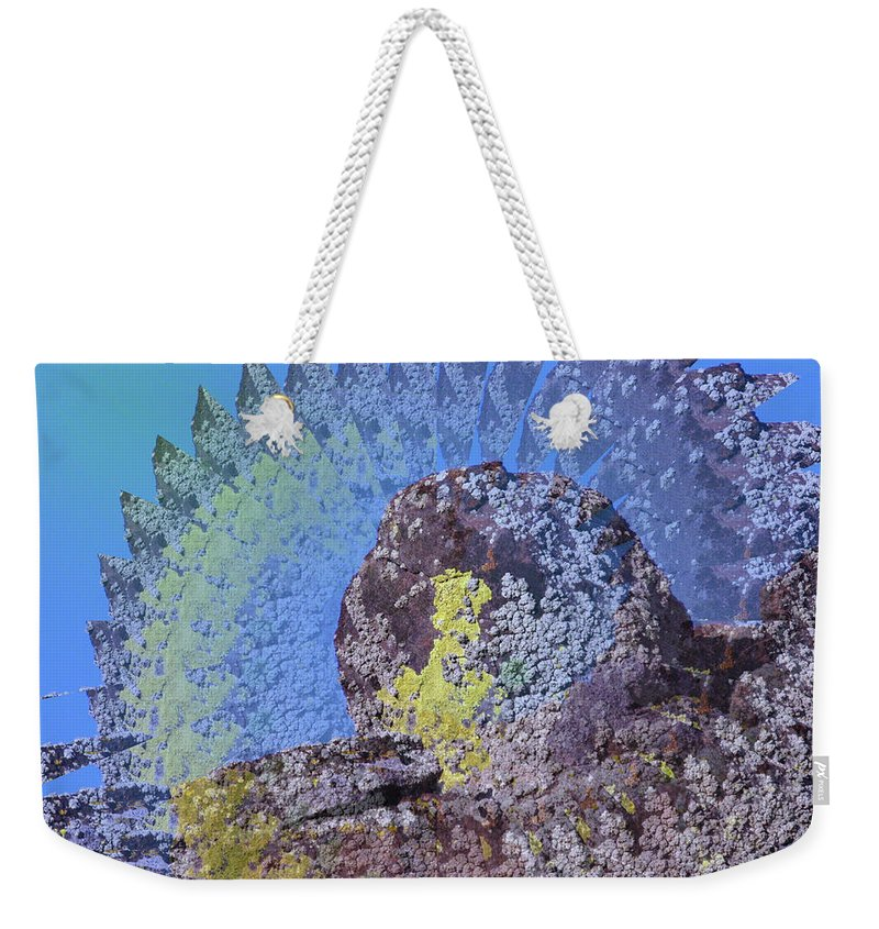Rocks Weekender Tote Bag featuring the photograph A Mossy Rock by Jeff Swan