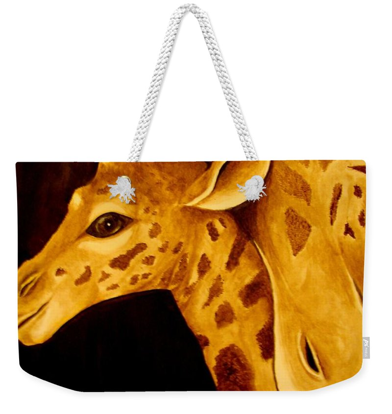 Weekender Tote Bag featuring the painting A Mother by Glory Fraulein Wolfe