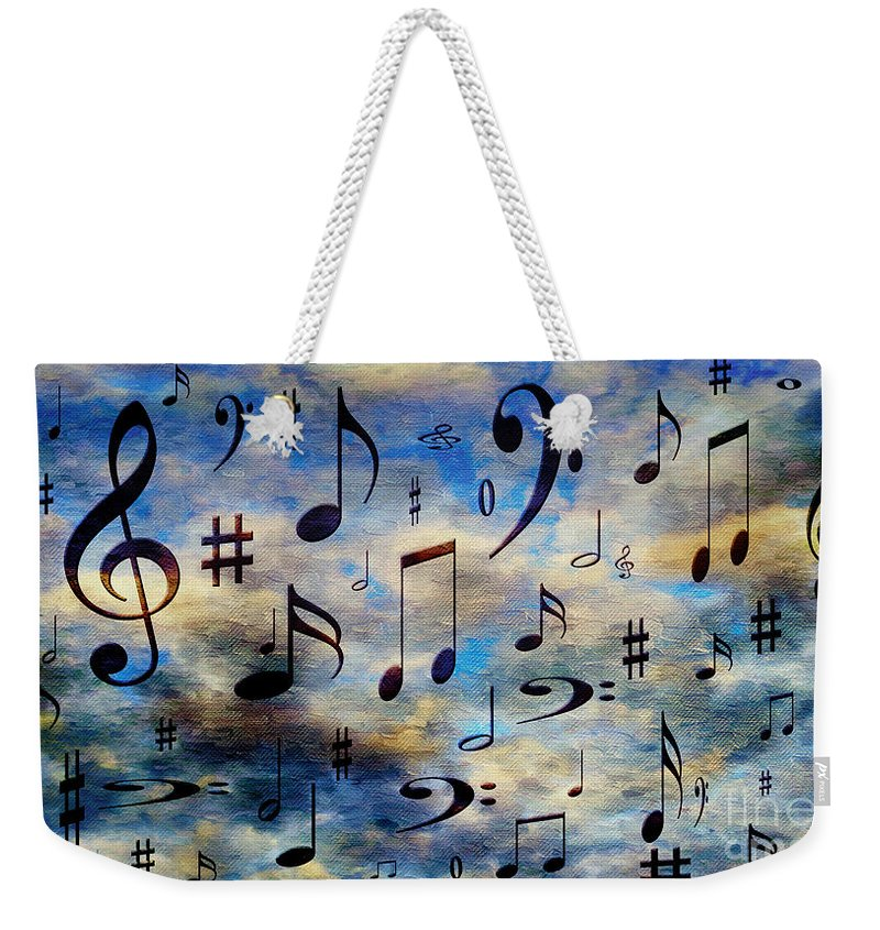 Abstract Weekender Tote Bag featuring the digital art A Musical Storm 3 by Andee Design