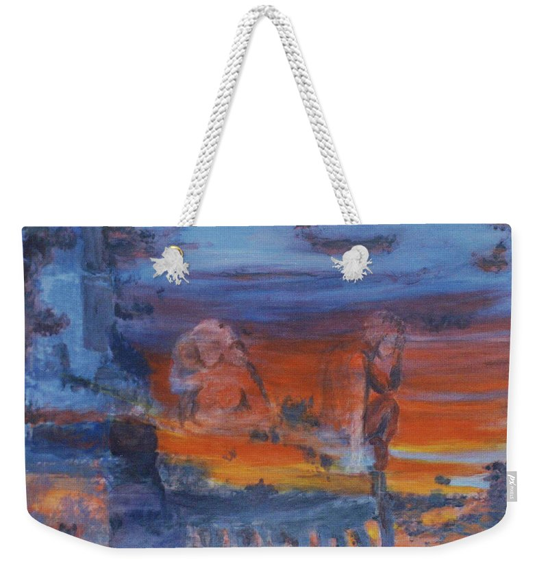 Abstract Weekender Tote Bag featuring the painting A Mystery Of Gods by Steve Karol