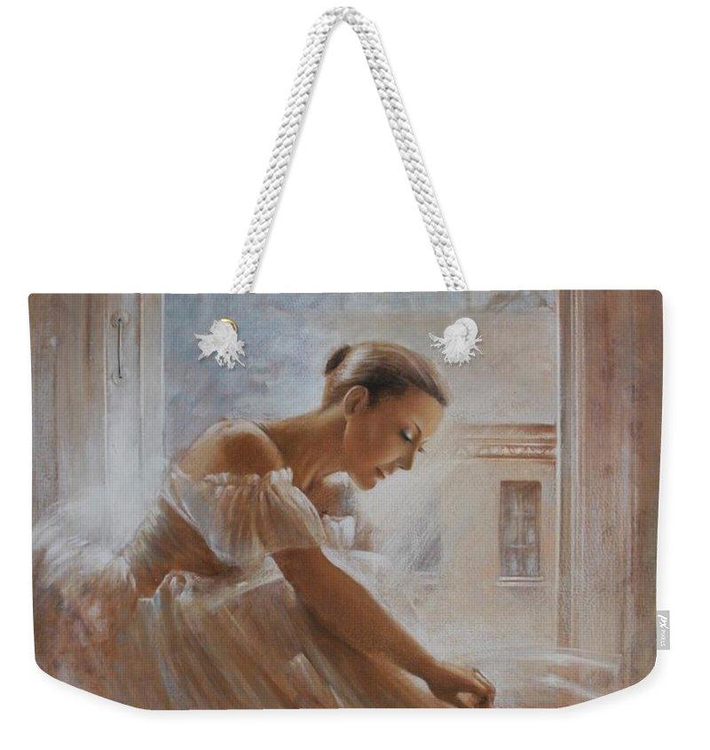 Ballerina Weekender Tote Bag featuring the painting A New Day Ballerina Dance by Vali Irina Ciobanu