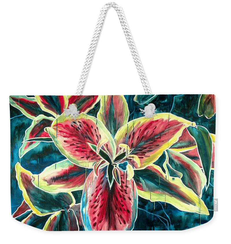Floral Painting Weekender Tote Bag featuring the painting A New Day by Jennifer McDuffie