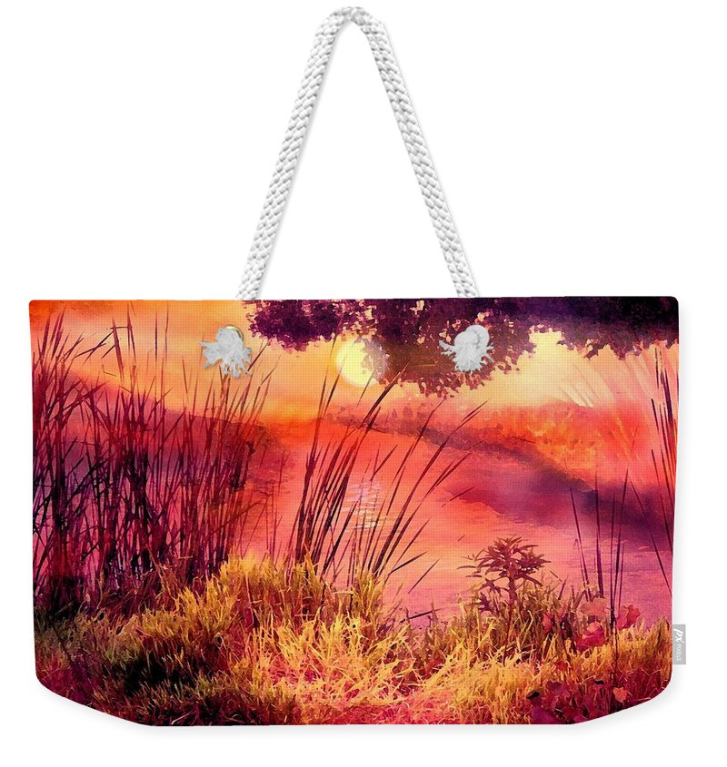 Landscape Weekender Tote Bag featuring the mixed media A New Day by Robin Monroe