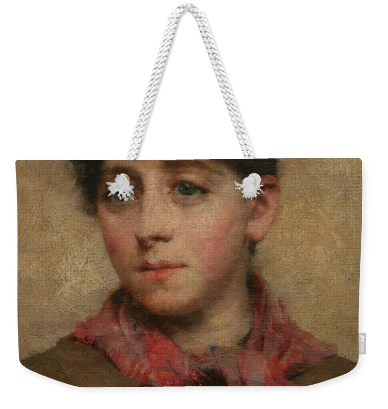 A Newlyn Maid Weekender Tote Bag featuring the painting A Newlyn Maid by Elizabeth Adela Stanhope Forbes
