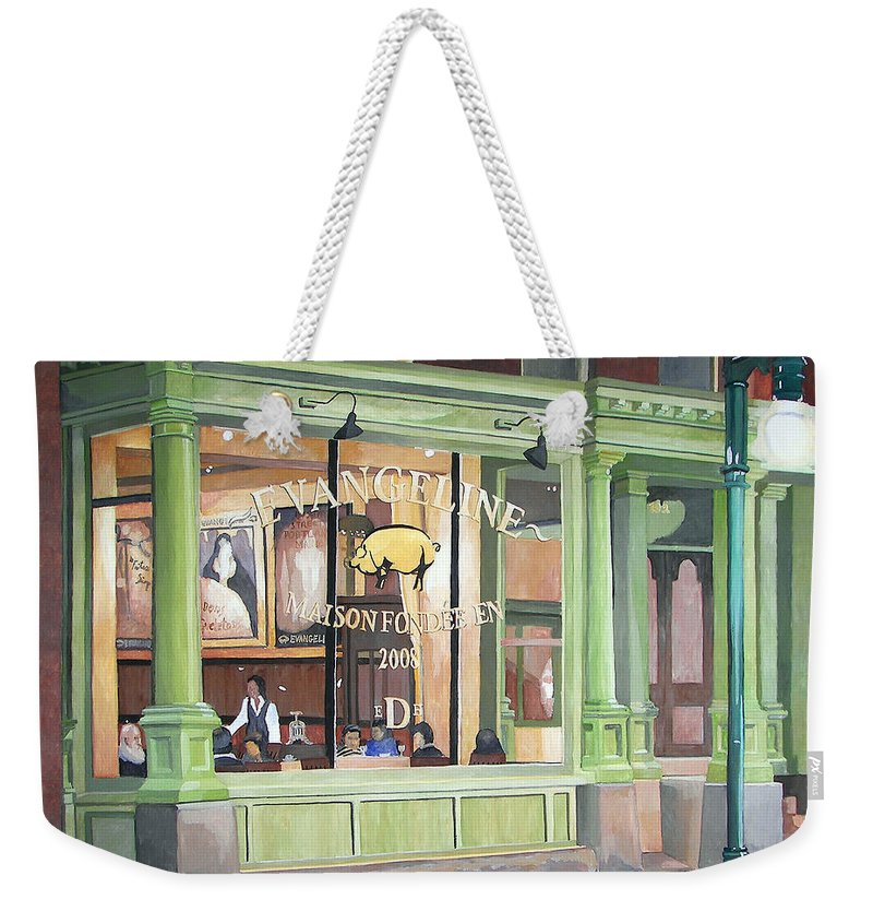 Restaurant Weekender Tote Bag featuring the painting A Night At Evangeline by Dominic White