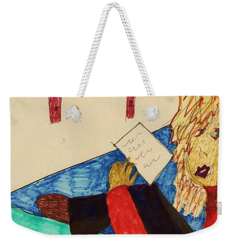 Girl Reading A Note Red And Black Clothes Book Shelf Weekender Tote Bag featuring the mixed media A Note by Elinor Rakowski