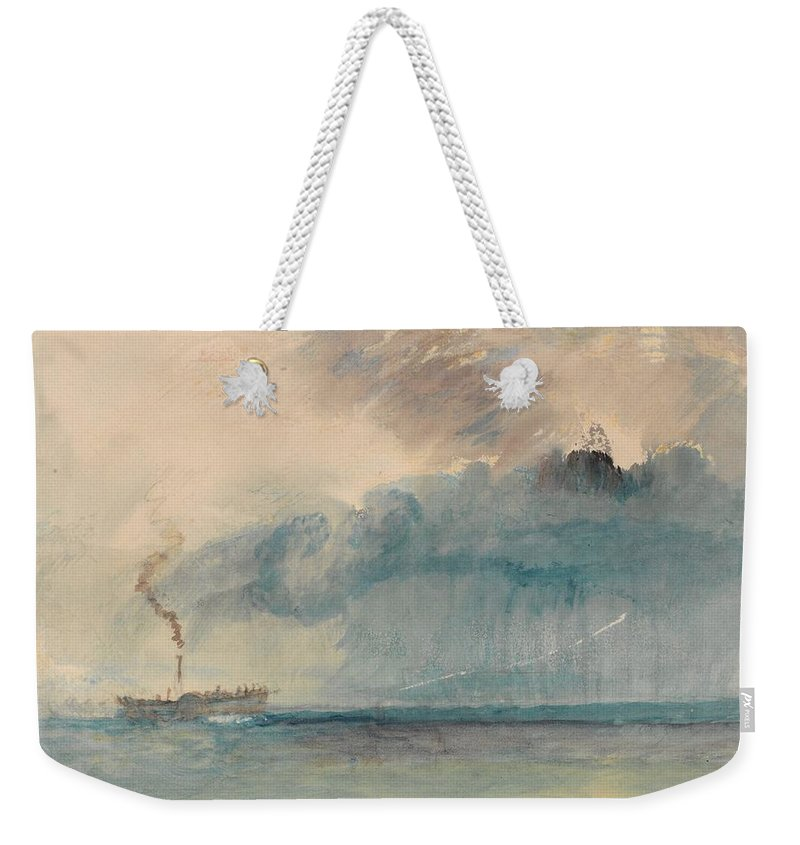 A Paddle-steamer In A Storm Weekender Tote Bag featuring the painting A Paddle-steamer In A Storm by Grypons Art