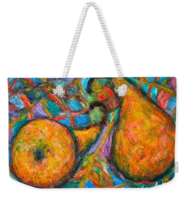 Pears Weekender Tote Bag featuring the painting A Pair by Kendall Kessler