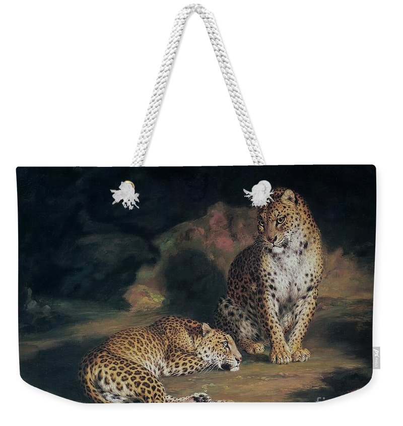 Pair Weekender Tote Bag featuring the painting A Pair Of Leopards by William Huggins