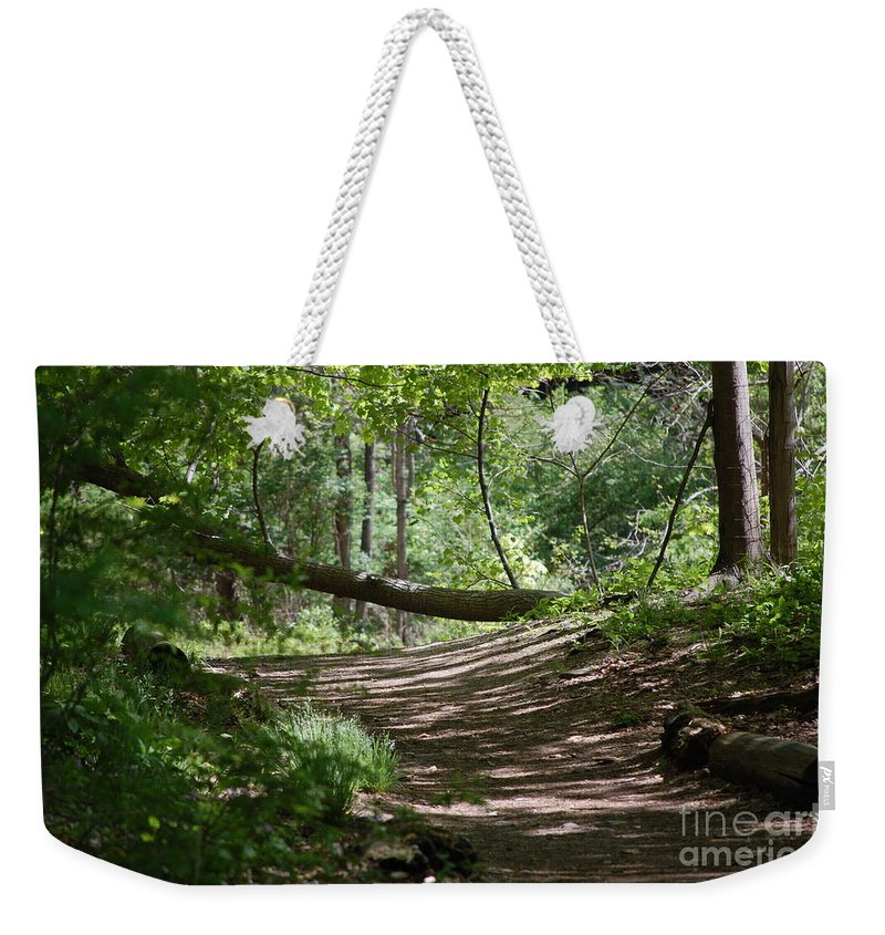 Landscape Weekender Tote Bag featuring the photograph A Path In The Woods by David Lane
