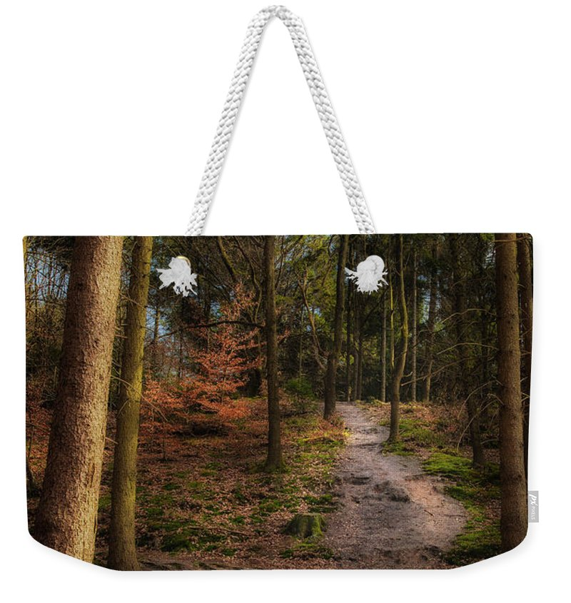 Gelderland Weekender Tote Bag featuring the photograph A Path Through The Woods by Tim Abeln