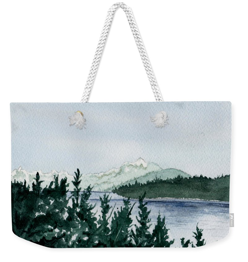Landscape Weekender Tote Bag featuring the painting A Peaceful Place by Brenda Owen