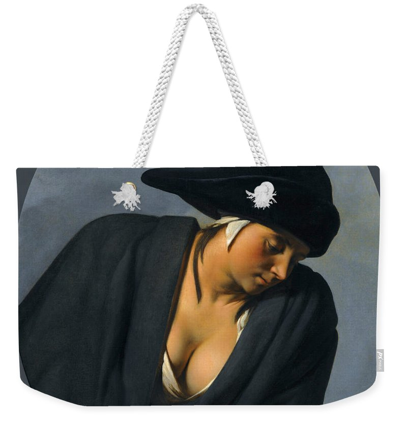Caesar Van Everdingen Weekender Tote Bag featuring the painting A Peasant Woman Wearing A Black Hat Leaning On A Wooden Ledge by Caesar van Everdingen